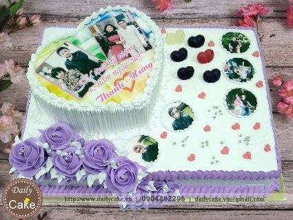 Bánh hai tầng in ảnh kỷ niệm ngày cưới