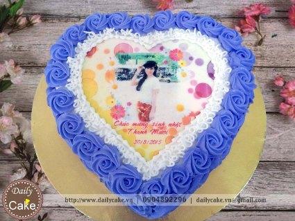 Bánh hình tim in ảnh sinh nhật bạn gái 001