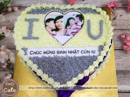 Bánh hình tim in ảnh sinh nhật bạn gái 002