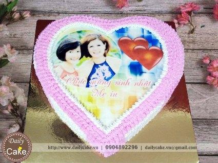 Bánh hình tim in ảnh sinh nhật mẹ yêu 002