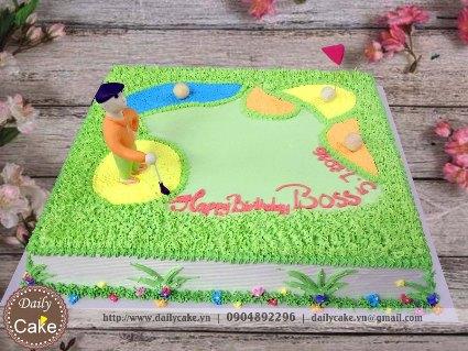 Bánh fondant sân golf sinh nhật Sếp
