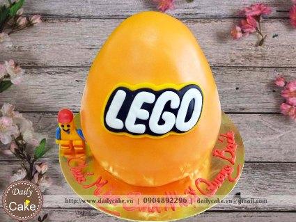 Bánh fondant sinh nhật tạo hình quả trứng Lego
