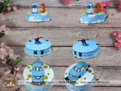 Bánh gato ba tầng sinh nhật bé trai