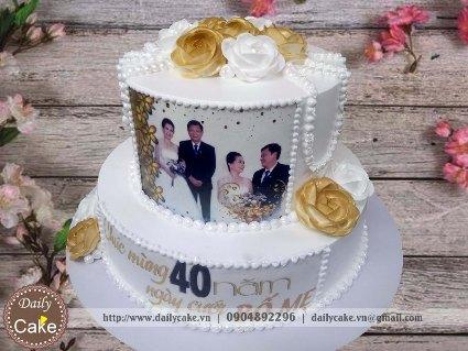 Bánh in ảnh hai tầng kỷ niệm 40 năm ngày cưới bố mẹ