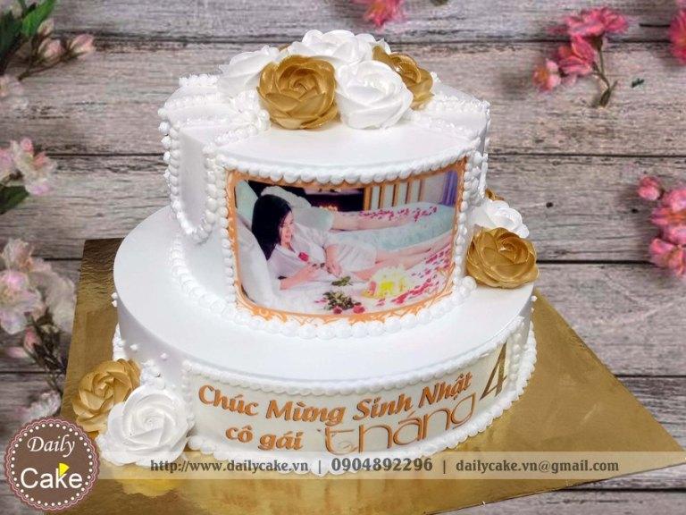 Bánh in ảnh hai tầng sinh nhật bạn gái 001