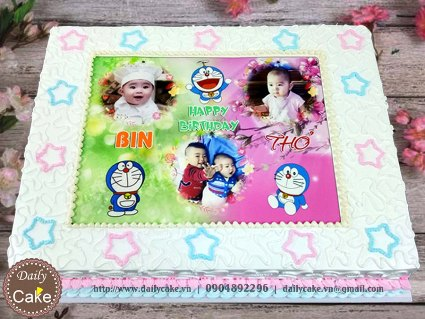 Bánh in ảnh sinh nhật chung hai bé 003