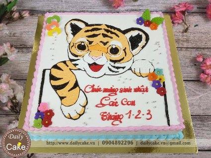 Bánh kem vẽ hình con hổ sinh nhật các bạn cùng lớp