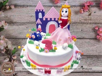 Bánh sinh nhật fondant công chúa và lâu đài