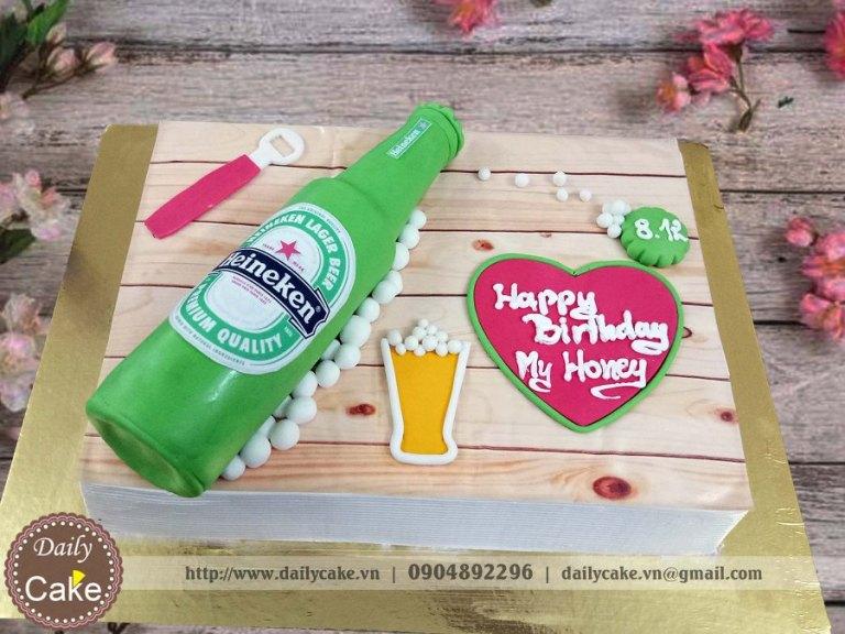 Bánh sinh nhật fondant hình chai bia heineken