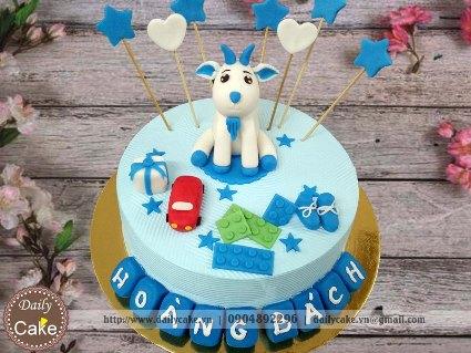 Bánh sinh nhật fondant hình con dê cho bé trai 002