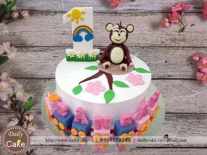 Bánh sinh nhật fondant hình con khỉ cho bé gái 001