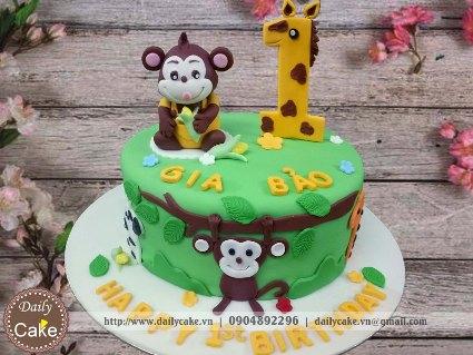 Bánh sinh nhật fondant hình con khỉ cho bé trai 001