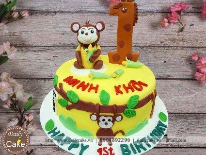 Bánh sinh nhật fondant hình con khỉ cho bé trai 002