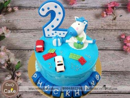 Bánh sinh nhật fondant hình con ngựa cho bé trai 001