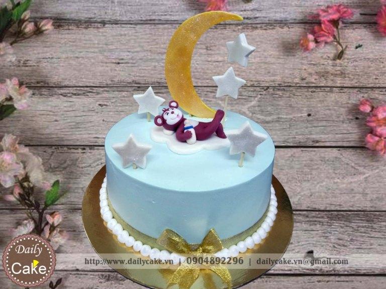 Bánh sinh nhật fondant khỉ con mơ màng cùng trăng sao