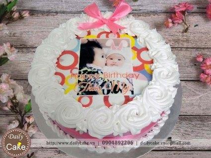 Bánh sinh nhật in ảnh bé gái 013