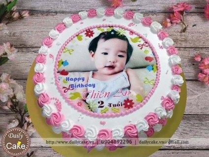 Bánh sinh nhật in ảnh bé gái 019