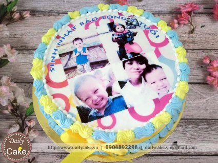 Bánh sinh nhật in ảnh bé trai 004