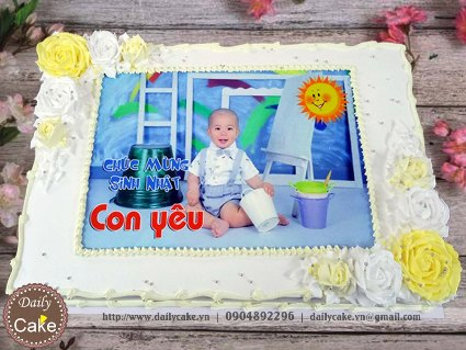 Bánh sinh nhật in ảnh bé trai 010