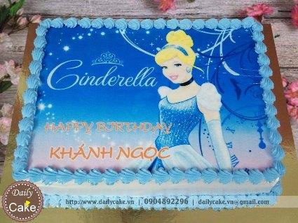 Bánh sinh nhật in ảnh công chúa Cinderella