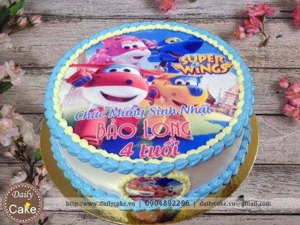 Bánh sinh nhật in ảnh đội bay siêu đẳng Super Wings 002