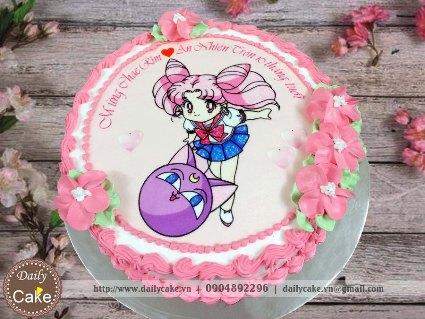Bánh sinh nhật in ảnh thủy thủ mặt trăng