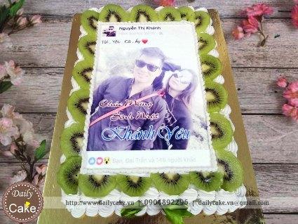 Bánh sinh nhật in ảnh trang trí hoa quả tươi 001