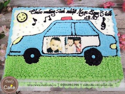 Bánh sinh nhật in ảnh vẽ hình ô tô cảnh sát