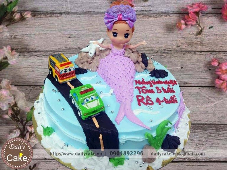 Bánh sinh nhật nàng tiên cá và ô tô
